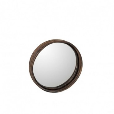 Plateau Miroir Rond Rotin Taille S