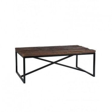 Table De Salon Rectangulaire Bois Metal Naturel
