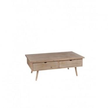 Table De Salon 4 Tiroirs bois naturel
