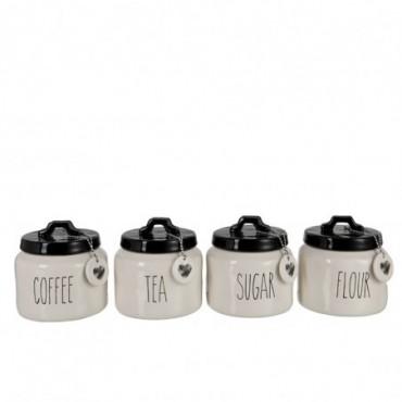 Pot A Provision Farine/Sucre/Cafe/The Noir/Blanc x4