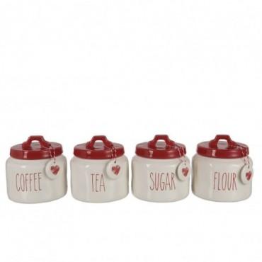 Pot A Provision Farine/Sucre/Cafe/The Ceramique Rouge/Blanc x4