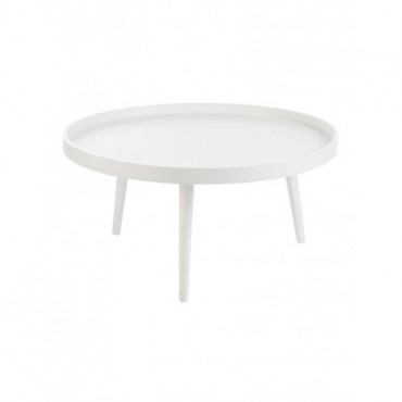 Table Salon Bord Rond Bois Blanc