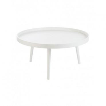 Table Salon Bord Rond Bois Blanc