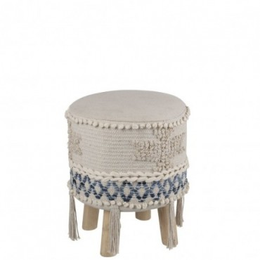 Pouf Denim Coton Bleu/Blanc