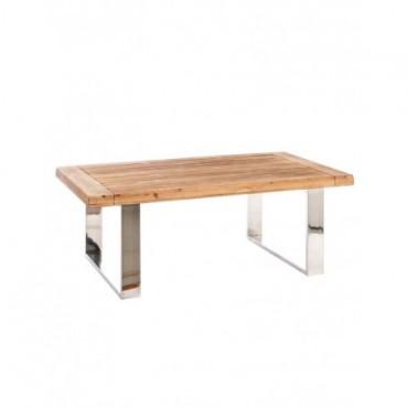Table De Salon Rectangulaire Bois Metal Naturel Argent
