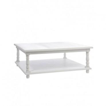 Table De Salon Carre Boiss Blanc L