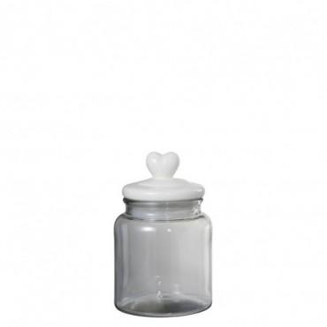 Pot A Provision Coeur Rond Verre/Ceramique Transparent/Blanc Small