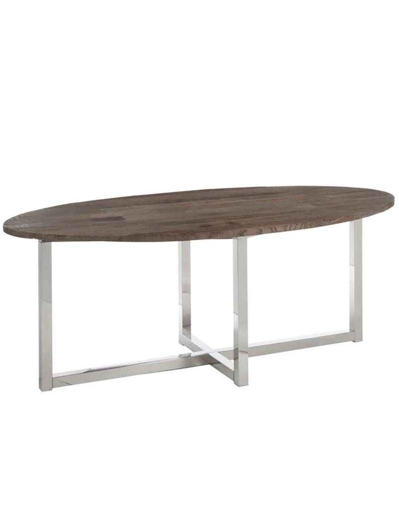 Table A Manger Ovale Bois Inox Marron