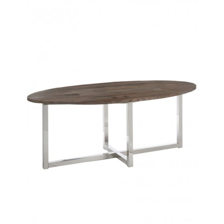 Table A Manger Ovale Bois Inox Marron
