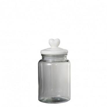 Pot A Provision Coeur Rond Verre/Ceramique Transparent/Blanc Large