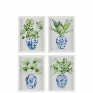 Cadre Plantes Bois/Verre Blanc/Vert x4