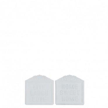 Pancarte Live Laugh Love/Home Sweet Home Metal Blanc x2