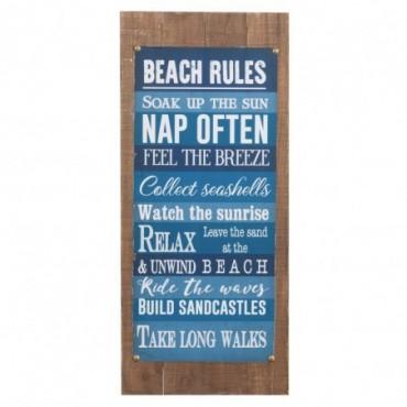 Pancarte Beach Rules Bois Bleu Mix