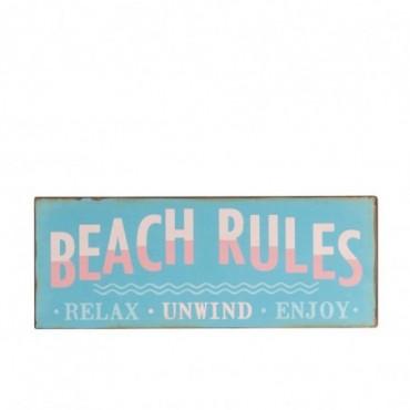 Pancarte Beach Rules Metal Bleu Mix