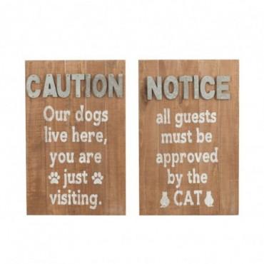 Pancarte Dog/Cat Bois Naturel/Gris x2