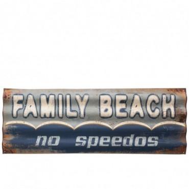 Pancarte Family Beach Metal Bleu