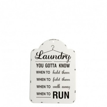 Pancarte Laundry Metal Creme/Noir