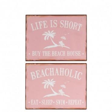 Pancarte Life/Beach Metal Rose/Blanc x2