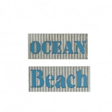 Pancarte Ocean/Beach Metal Gris/Bleu x2