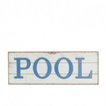 Pancarte Pool + Corde Bois Blanc/Bleu