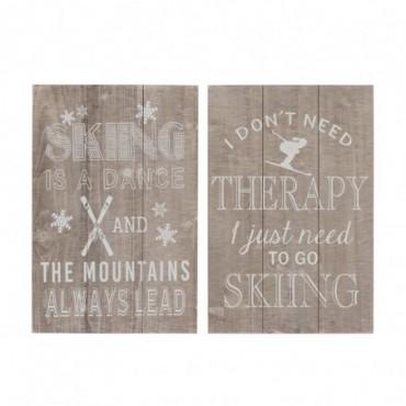 Pancarte Skiing Bois Naturel/Blanc x2