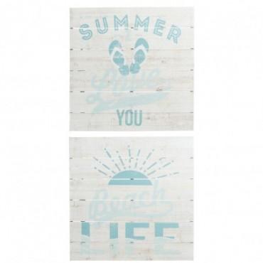 Pancarte Summer/Beach Bois Blanc/Azur x2
