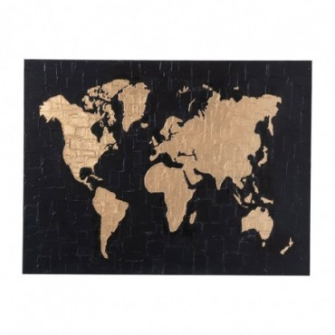 Peinture Planisphere Canevas/Bois Noir/Or