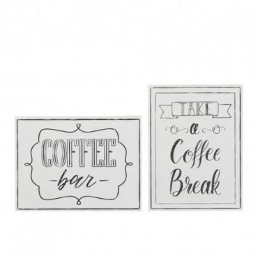 Plaque Coffee Metal Blanc x2