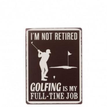 Plaque Golfing Metal Marron