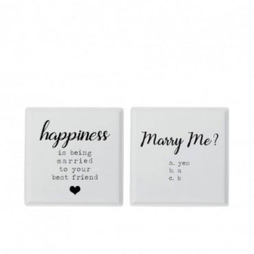 Plaque Happy/Marry Metal Blanc x2