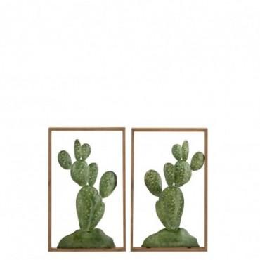 Decoration Murale Cactus Metal/Bois Vert x2