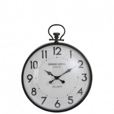 Horloge Boule Ronde Metal Noir Verre Taille L