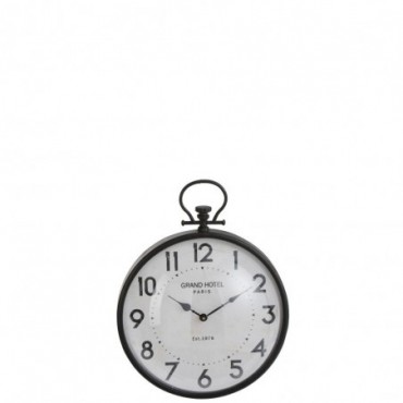 Horloge Boule Ronde Metal Noir Verre Taille S