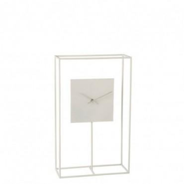 Horloge Cadre Minimaliste Métal Blanc