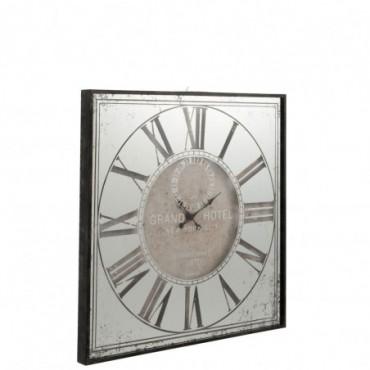 Horloge Carree Hotel Miroir Gris