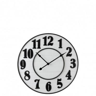 Horloge Chiffres Arabes Bois Blanc/Metal Noir