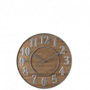 Horloge Chiffres Arabes Bois Naturel/Metal Argent