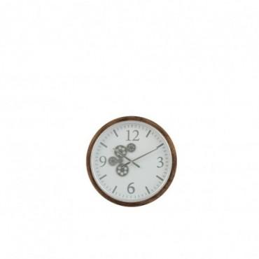 Horloge Engrenage Chiffre Arabes Mdf Blanc/Marron/Gris Taille S