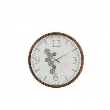 Horloge Engrenage Chiffres Arabes Mdf Blanc/Marron/Gris Taille L