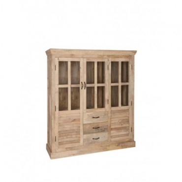 Vitrine 2 Portes bois naturel