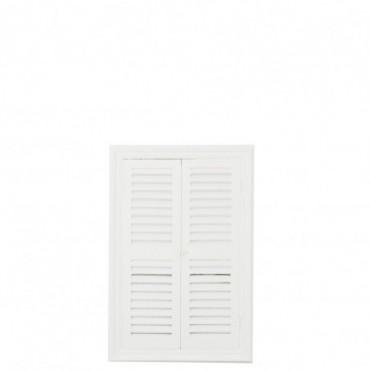 Miroir + 2 Volets Bois/Verre Blanc Taille L