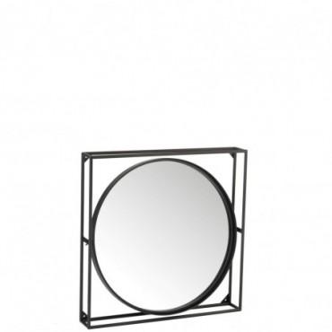 Miroir Cercle/Carre Metal/Verre Noir