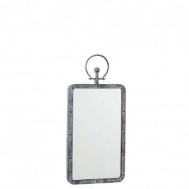 Miroir Rectangulaire Anse Metal/Verre Antique Gris