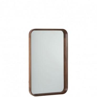 Miroir Rectangulaire Bois/Verre Marron Fonce