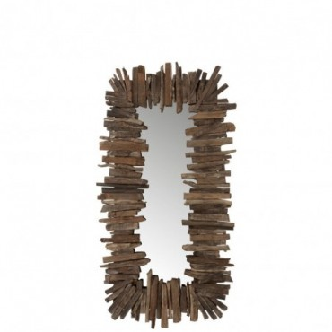 Miroir Rectangulaire Morceaux  Bois Recycle Marron Taille S