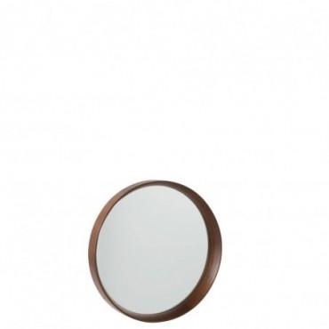 Miroir Rond Bois/Verre Marron Fonce Taille S