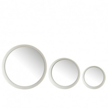Set 3 Miroirs Metal Mat Blanc
