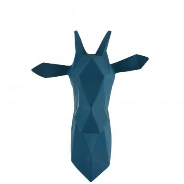 Tete Girafe Suspendu Resine Bleu