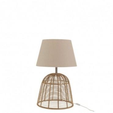 Pied De Lampe + Abat-Jour Barres Bambou Naturel Taille S