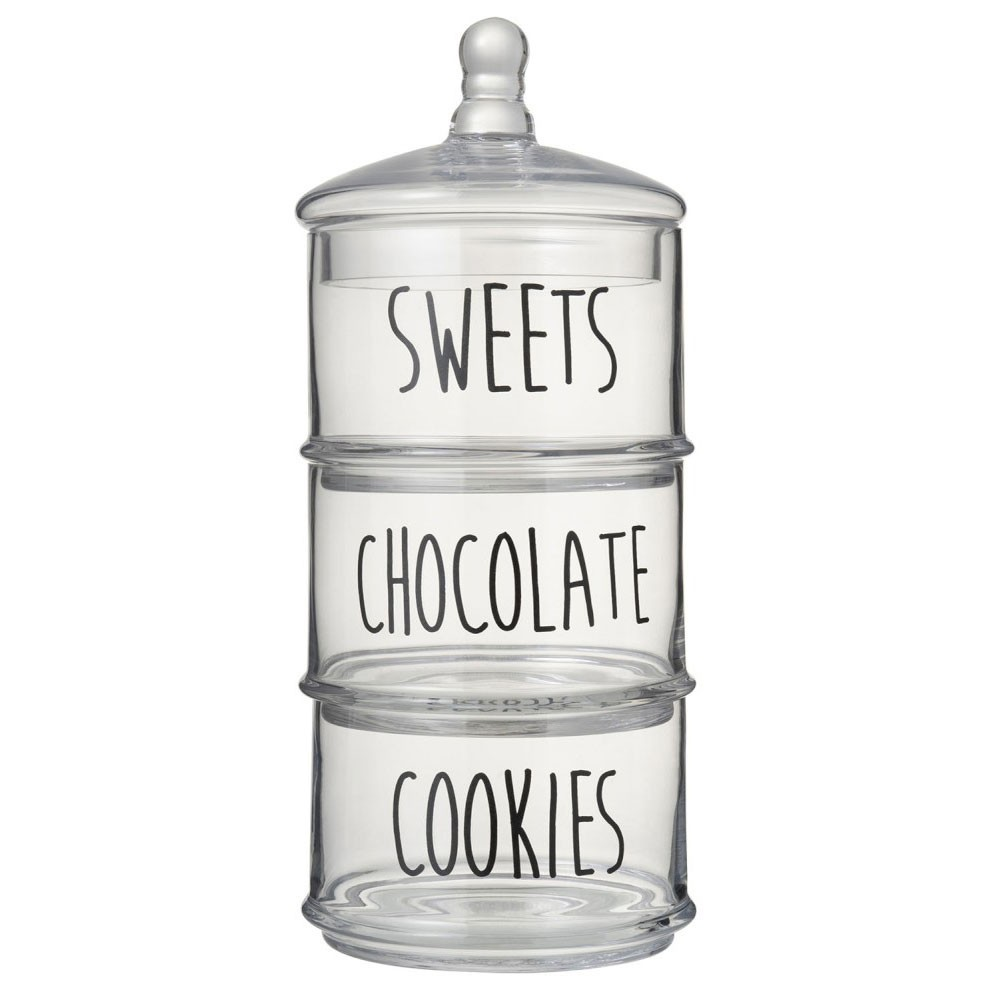 Pot 3 Niveaux Cookies/Chocolate/Sweets Verre Transparent/Noir